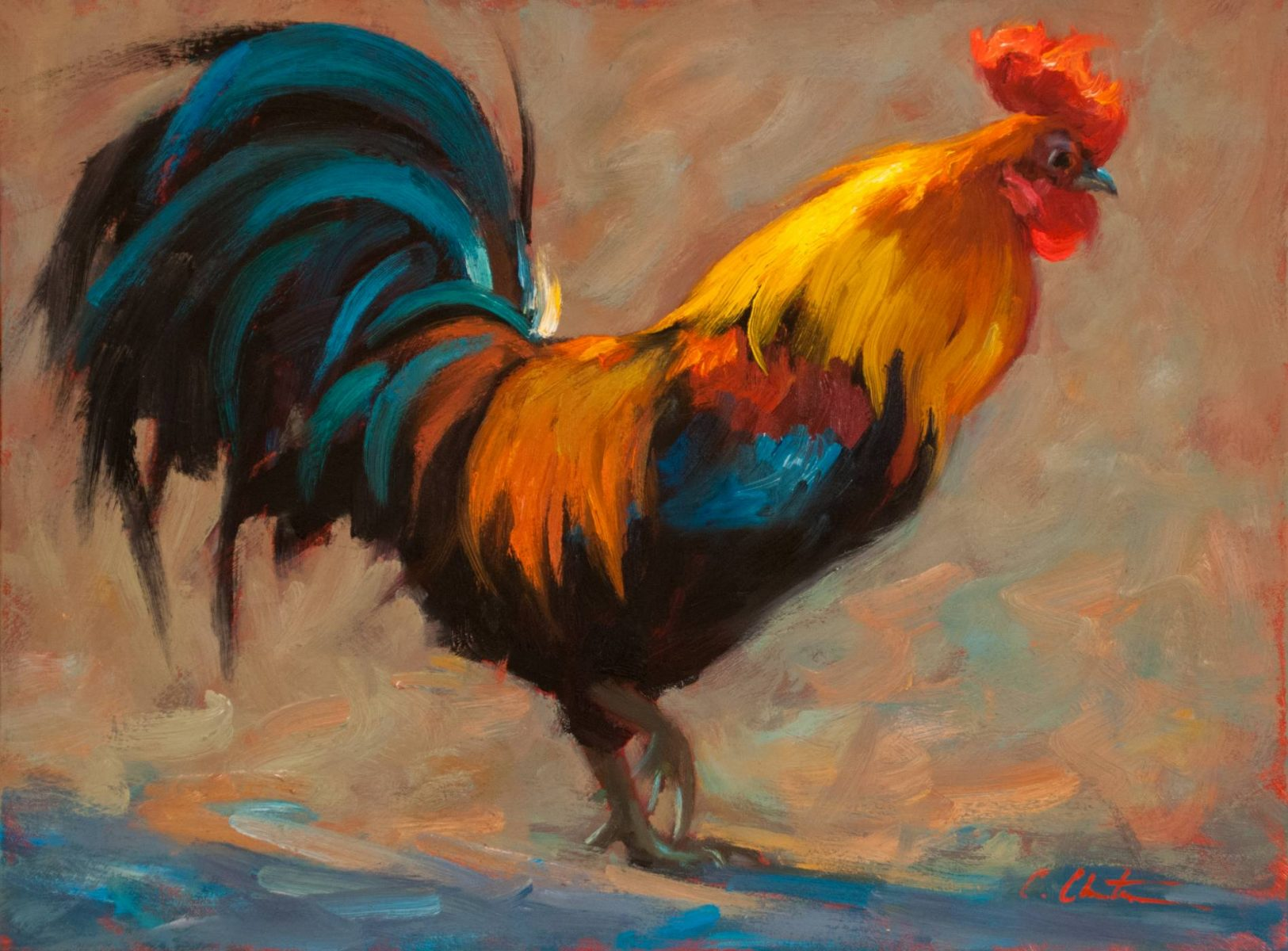 painting of a rooster by Texas artist Cheri Christensen