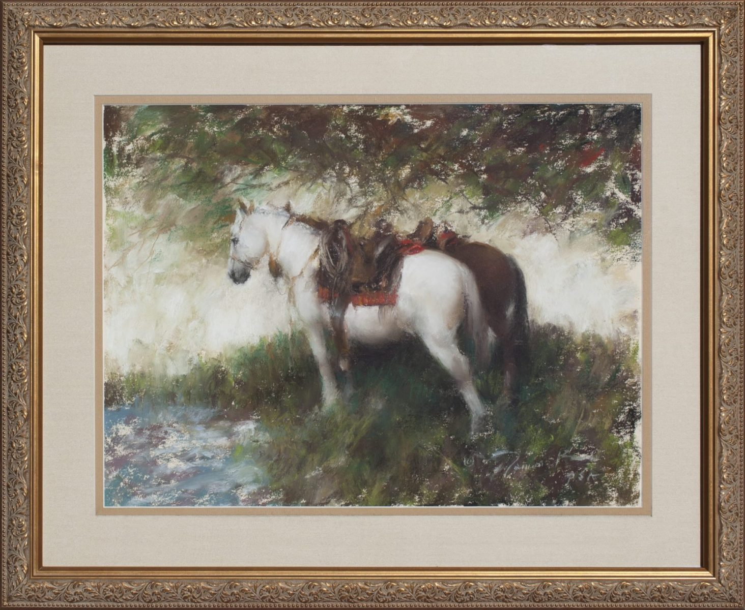 Watering at Crow Creek painting by Ramon Kelley